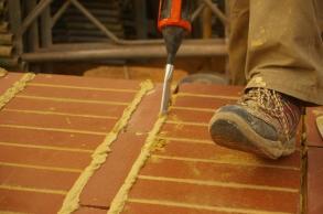 Mortaring the floor