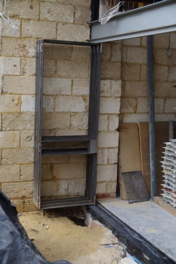 Bifold doors stacked away