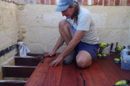 Nailing the floor boards into place