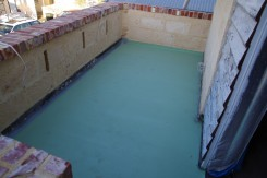 Water proof membrane painted on and finished.