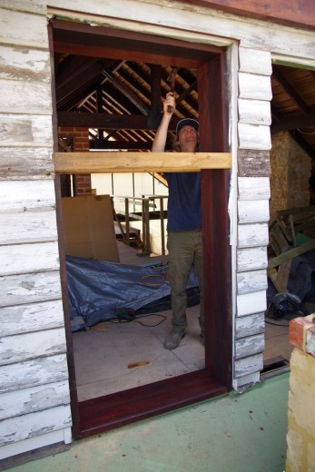 'Persuading' the door frame into place
