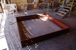 Putting together the frame for the bifold doors