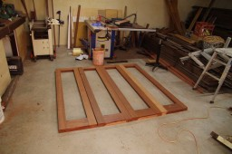 Bifold doors put together and ready for oiling