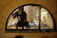 Installing the arched windows in the kitchen
